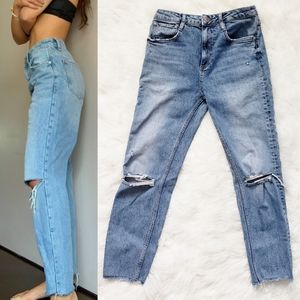 ZARA High Rise Destroyed Distressed Frayed Jeans